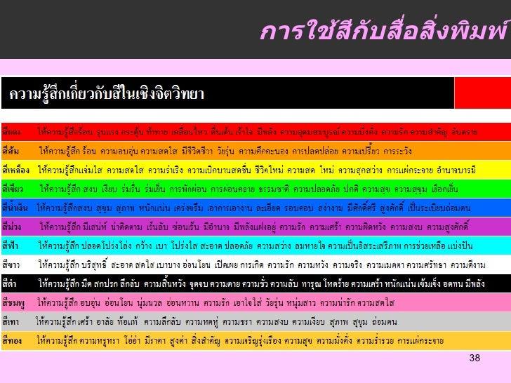 การใช้สีกับสื่อสิ่งพิมพ์                    38