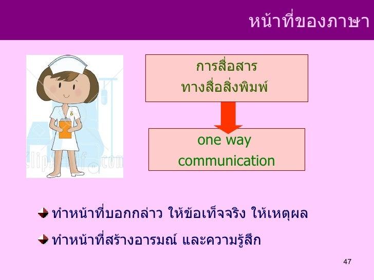 หน้าที่ของภาษา                       การสื่อสาร                     ทางสื่อสิ่งพิมพ์                       one way        ...