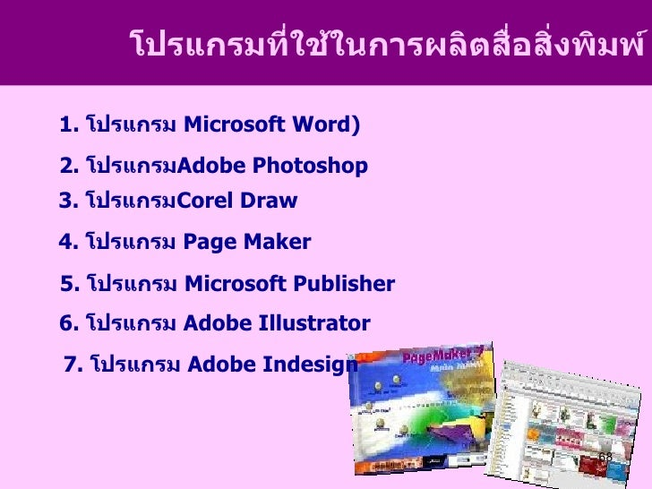 โปรแกรมที่ใช้ในการผลิตสื่อสิงพิมพ์                                  ่1. โปรแกรม Microsoft Word)2. โปรแกรมAdobe Photoshop3....