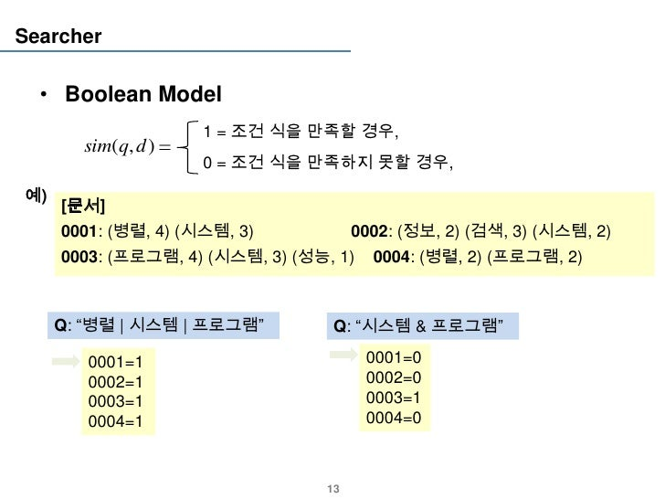 Searcher  • Boolean Model                     1 = 조건 식을 만족할 경우,       sim(q, d )                     0 = 조건 식을 만족하지 못할 경우,...