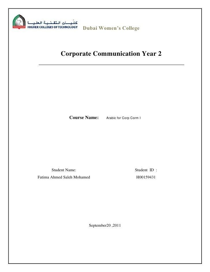 Dubai Women's College           Corporate Communication Year 2               Course Name:       Arabic for Corp Corm I    ...