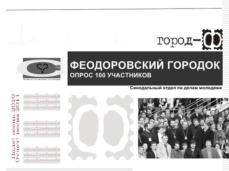 ФЕОДОРОВСКИЙ ГОРОДОКОПРОС 100 УЧАСТНИКОВ              Синодальный отдел по делам молодежи                                 ...