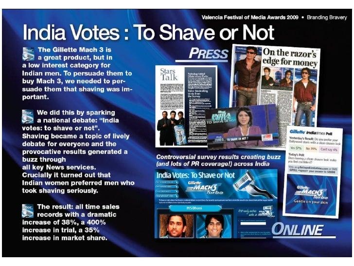 """Индия голосует """"Брить или не брить""""Результаты +38% увеличение продаж 400% увеличение пробной покупки Знание удвоилось ..."""