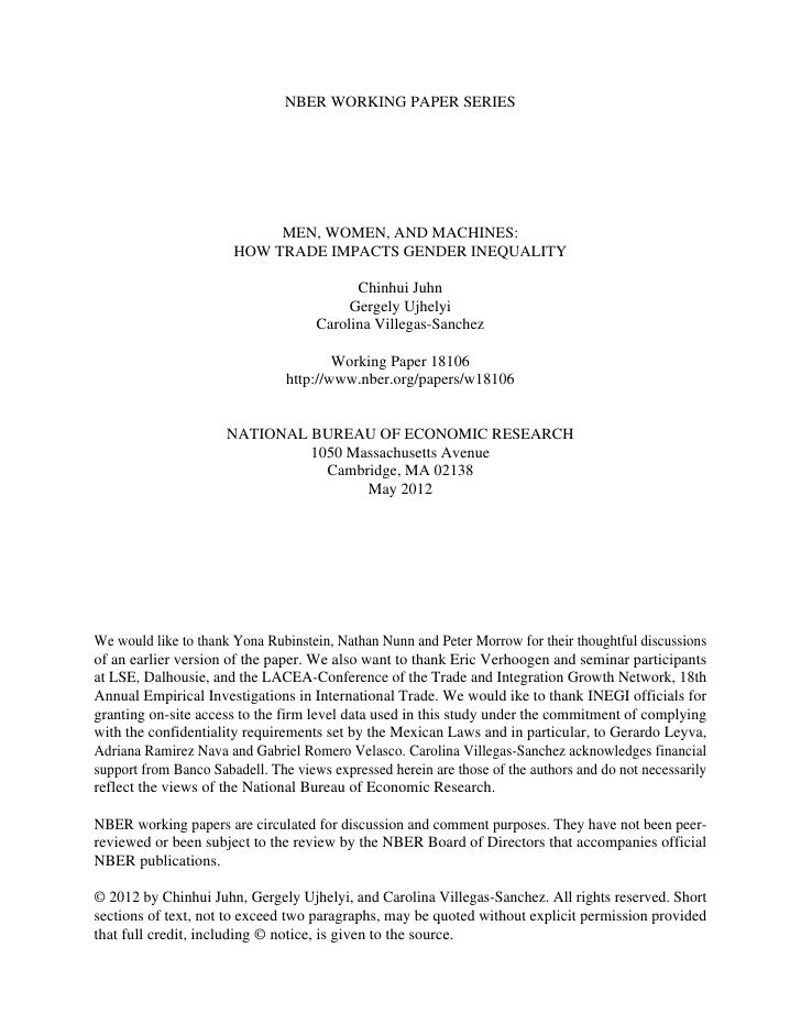 NBER WORKING PAPER SERIES                            MEN, WOMEN, AND MACHINES:                       HOW TRADE IMPACTS GEN...