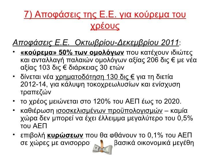 7) Αποφάσεις της Ε.Ε. για κούρεμα του                  χρέουςΑποφάσεις Ε.Ε. Οκτωβρίου-Δεκεμβρίου 2011:• «κούρεμα» 50% των ...