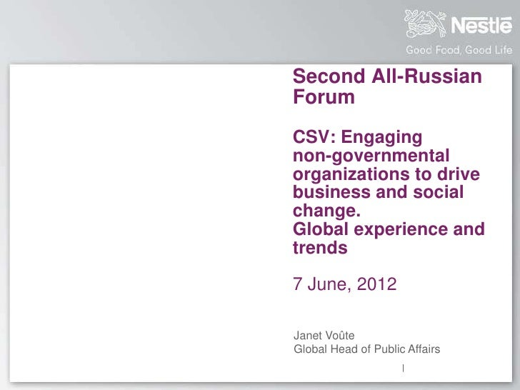 Second All-RussianForumCSV: Engagingnon-governmentalorganizations to drivebusiness and socialchange.Global experience andt...