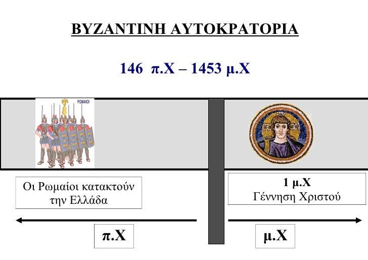 ΒΥΖΑΝΤΙΝΗ ΑΥΤΟΚΡΑΤΟΡΙΑ                 146 π.Χ – 1453 μ.ΧΟι Ρωμαίοι κατακτούν                       1 μ.Χ     την Ελλάδα  ...