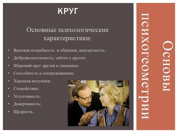 КРУГ                                                 психогеометрии         Основные психологические              характер...