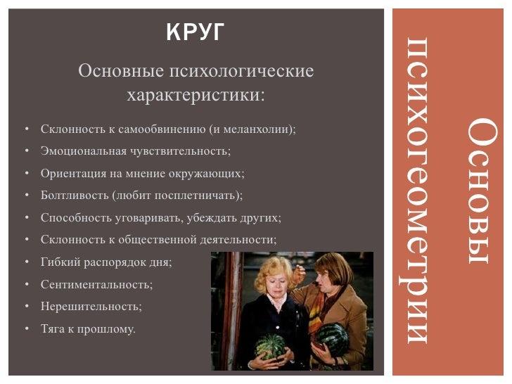 КРУГ                                               психогеометрии        Основные психологические             характеристи...