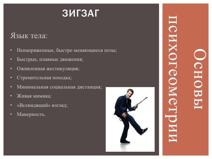 ЗИГЗАГ                                           психогеометрииЯзык тела:• Ненапряженные, быстро меняющиеся позы;         ...