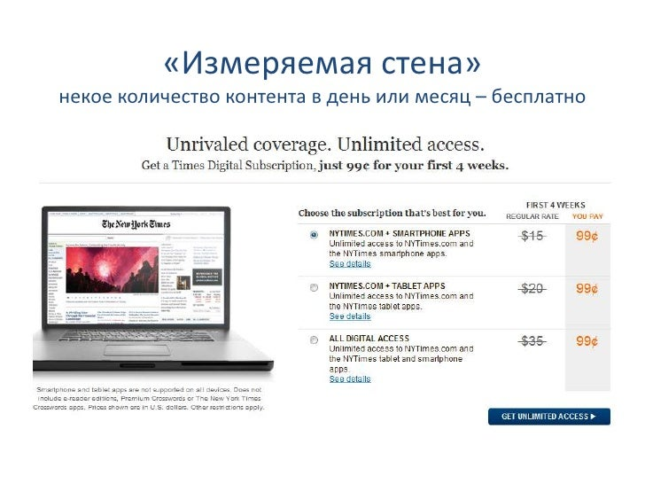 «Измеряемая стена»некое количество контента в день или месяц – бесплатно