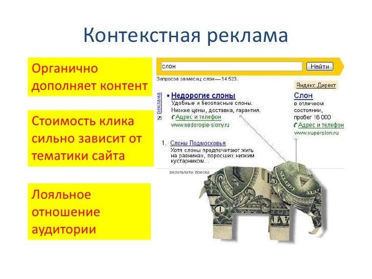 Контекстная рекламаОрганичнодополняет контентСтоимость кликасильно зависит оттематики сайтаЛояльноеотношениеаудитории