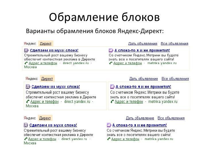 Обрамление блоковВарианты обрамления блоков Яндекс-Директ:
