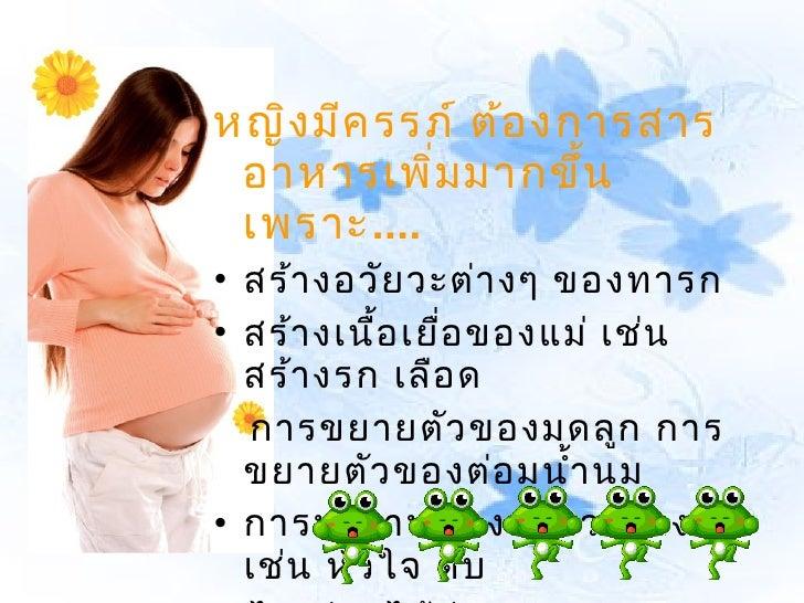 หญิง มีค รรภ์ ต้อ งการสาร อาหารเพิม มากขึ้น           ่ เพราะ....• สร้า งอวัย วะต่า งๆ ของทารก• สร้า งเนื้อ เยื่อ ของแม่ เ...