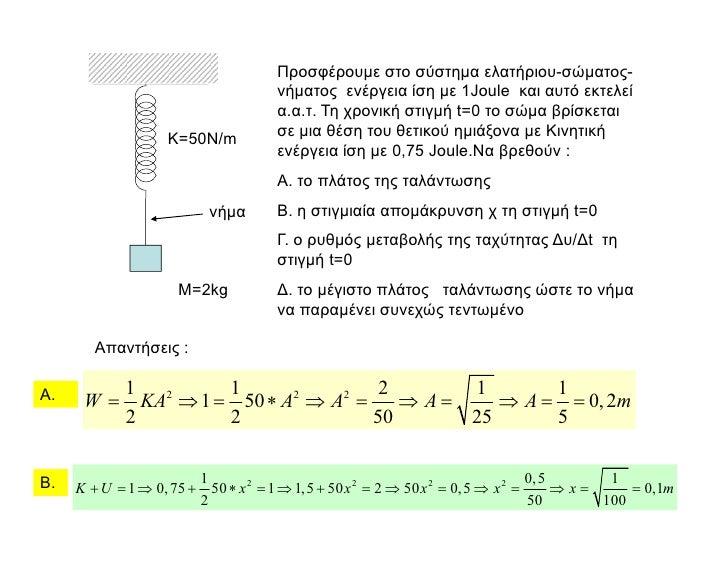 Προσφέρουµε στο σύστηµα ελατήριου-σώµατος-                                    νήµατος ενέργεια ίση µε 1Joule και αυτό εκτε...