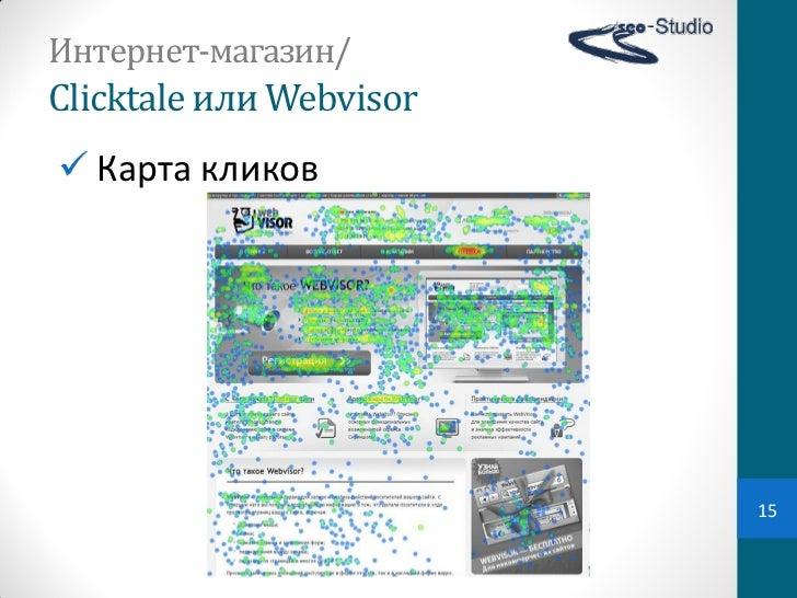 Интернет-магазин/Clicktale или Webvisor Карта кликов                            15