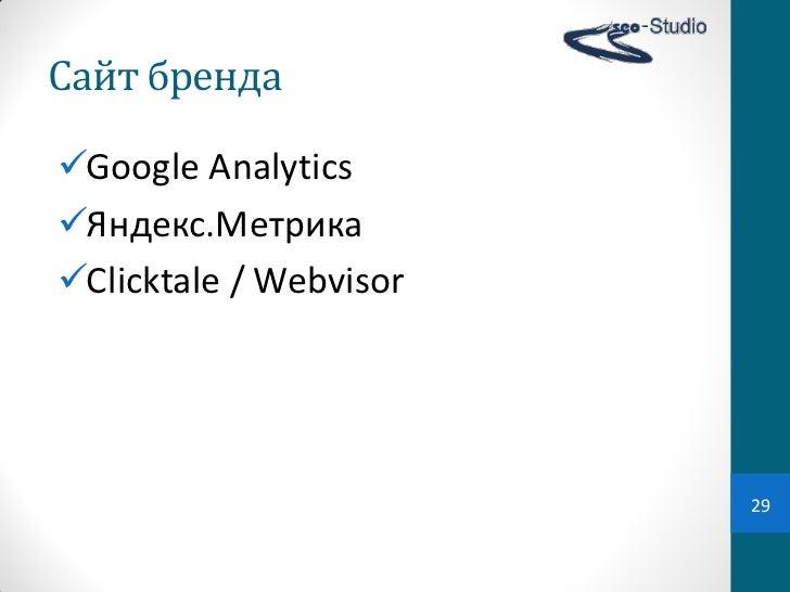 Сайт брендаGoogle AnalyticsЯндекс.МетрикаClicktale / Webvisor                        29