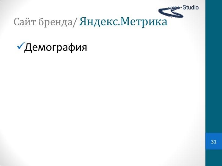 Сайт бренда/ Яндекс.МетрикаДемография                                 31