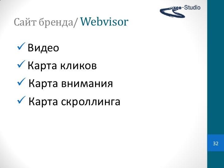 Сайт бренда/ Webvisor Видео Карта кликов Карта внимания Карта скроллинга                           32