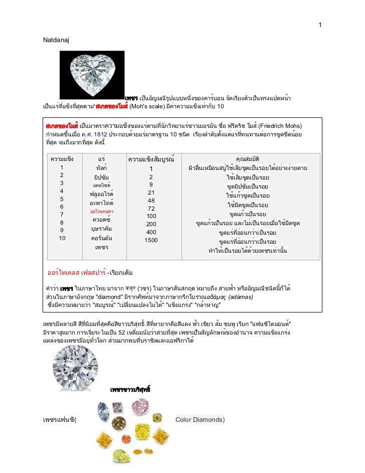 1Natdanaj                                 เพชร เป็นอัญมณีรูปแบบหนึ่งของคาร์บอน จัดเรียงตัวเป็นทรงแปดหน้าเป็นแร่ที่แข็งที่ส...