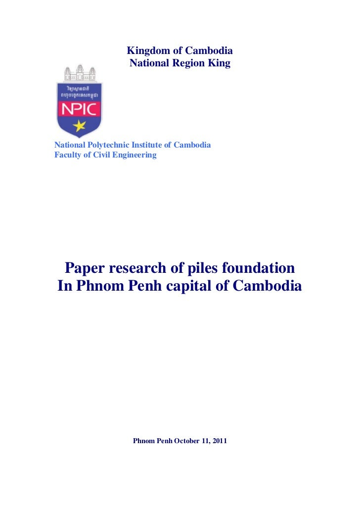 Kingdom of Cambodia                   National Region KingNational Polytechnic Institute of CambodiaFaculty of Civil Engin...