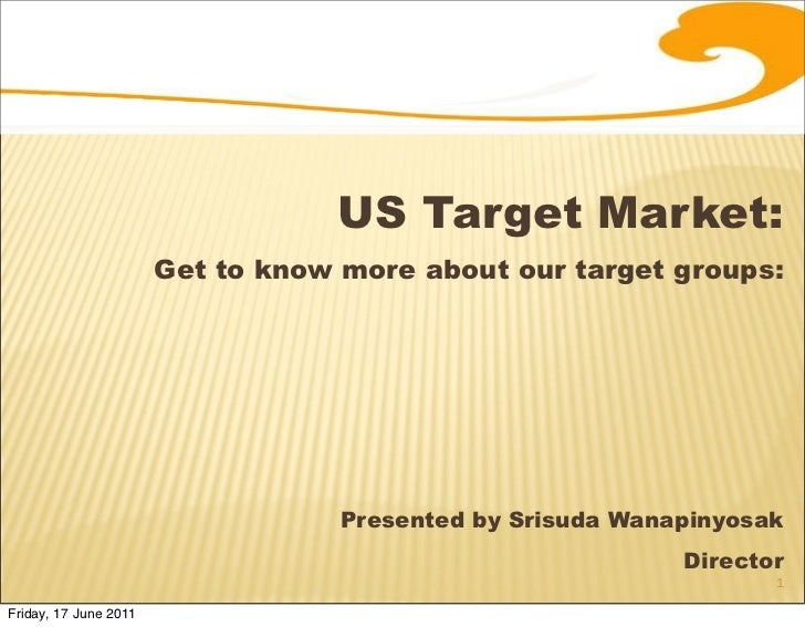 US Target Market:                       Get to know more about our target groups:                                   Presen...