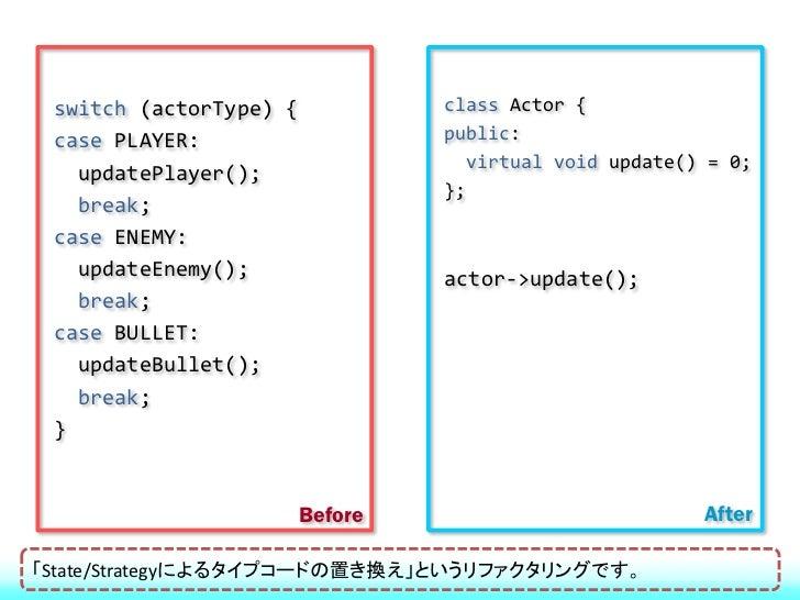 すべてのプリミティブ型をラップ  int、floatなどの基本型をラップする  stringなども基本型の扱いとする  得点、時間などの変数をクラス化する  すべての状態変数をカプセル化するすべてをオブジェクト化するのが目的です。int...