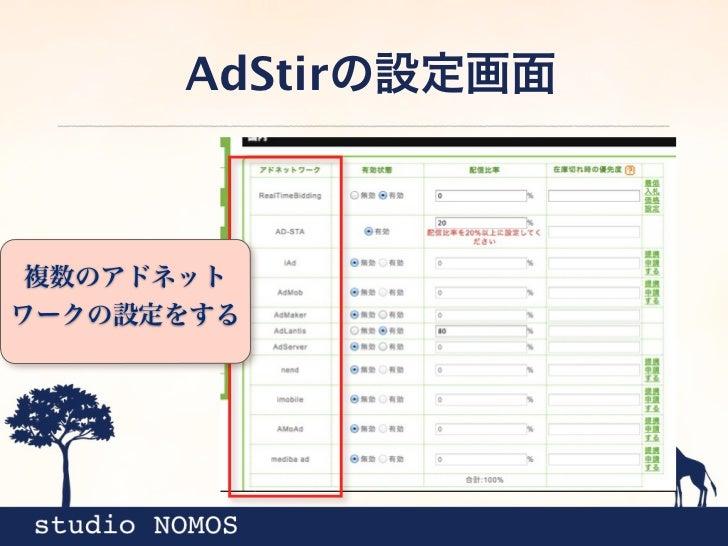 AdStirの設定画面配信比率を設定すると、アドネット ワークの表示率を分配できる。
