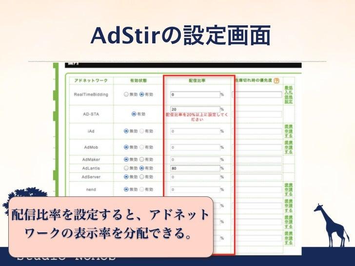AdStirの設定画面配信する広告がなくなった場合に、どのアドネットワークを優先的に表   示するかを設定する。