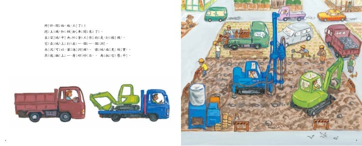 終於開始施工了!    挖土機和傾卸車開來了。    在空地中央忙著工作的是打樁機,    它在地上打出一個一個洞,    水泥可以灌進洞裡,讓地面更結實。    然後鋪上一層碎砂石,再把它壓平。4                      5