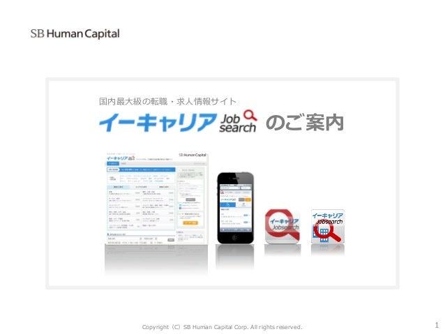 国内最大級の転職・求人情報サイト のご案内 Copyright(C)SB Human Capital Corp. All rights reserved. 1