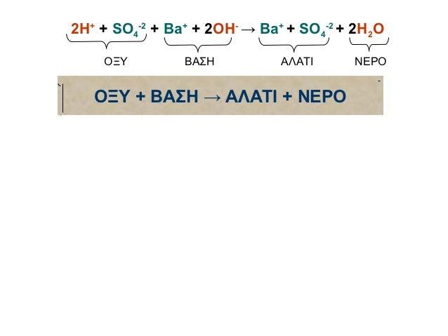 2Η+ + SO4-2 + Ba+ + 2OH- → Ba+ + SO4-2 + 2H2O    ΟΞΥ         ΒΑΣΗ          ΑΛΑΤΙ     ΝΕΡΟ   ΟΞΥ + ΒΑΣΗ → ΑΛΑΤΙ + ΝΕΡΟ