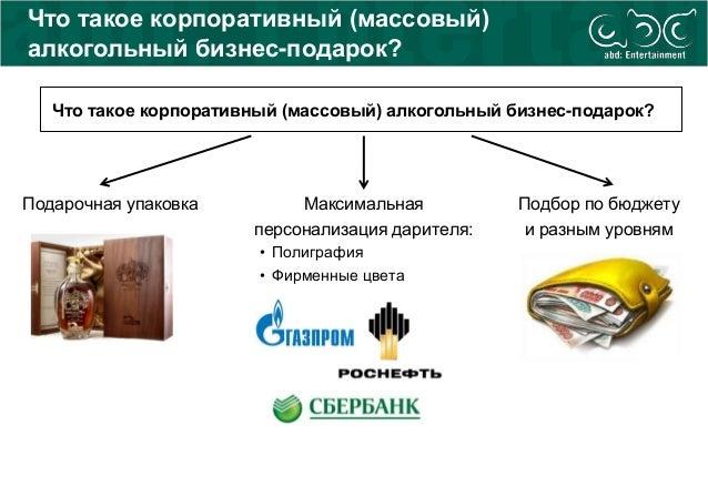 Что такое корпоративный (массовый) алкогольный бизнес-подарок? Подарочная упаковка Максимальная персонализация дарителя: •...