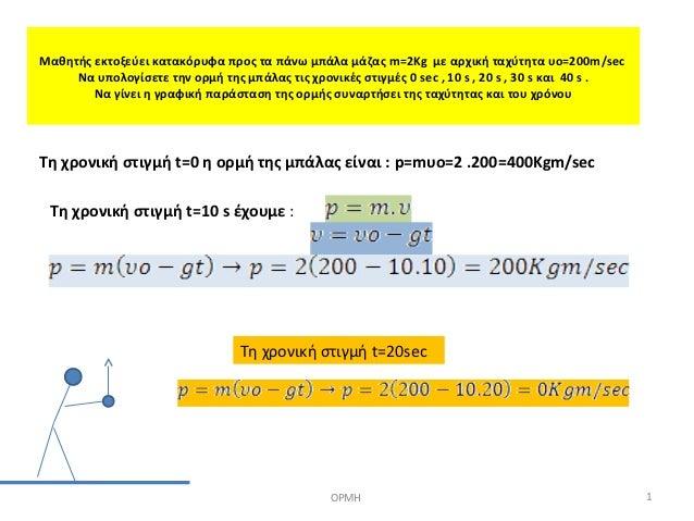 Μαθητής εκτοξεύει κατακόρυφα προς τα πάνω μπάλα μάζας m=2Kg με αρχική ταχύτητα υο=200m/sec     Να υπολογίσετε την ορμή της...