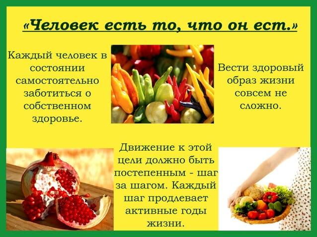«Человек есть то, что он ест.»Каждый человек в   состоянии                       Вести здоровый самостоятельно            ...