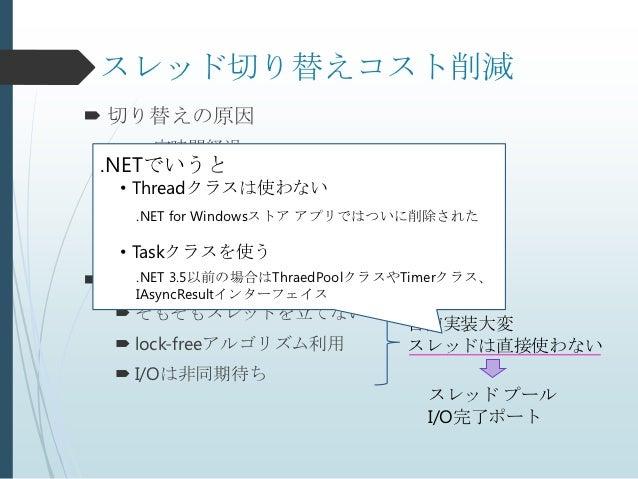 スレッド切り替えコスト削減 切り替えの原因   一定時間経過 .NETでいうと   待機ハンドル待ち(lock獲得とか)  • Threadクラスは使わない   同期I/O待ち     .NET for Windowsストア アプリでは...