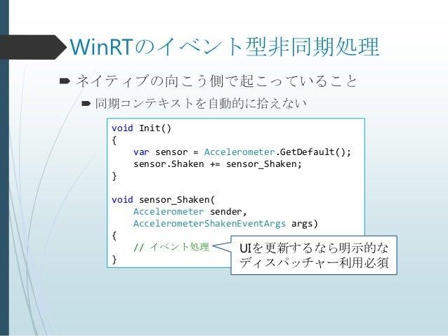 WinRTのイベント型非同期処理 ネイティブの向こう側で起こっていること  同期コンテキストを自動的に拾えない   void Init()   {       var sensor = Accelerometer.GetDefault();...