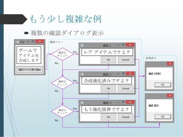 もう少し複雑な例  複数の確認ダイアログ表示        確認フローゲームで       確認 1   Yes   レア アイテムですよ?アイテムを     チェック                                     ...