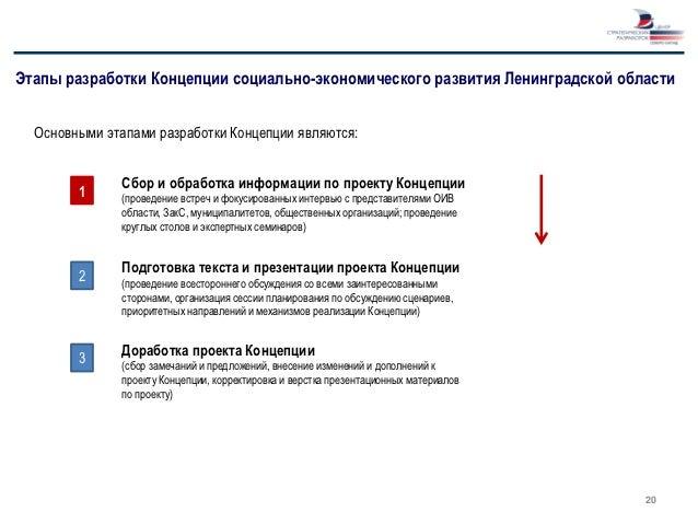Этапы разработки Концепции социально-экономического развития Ленинградской области  Основными этапами разработки Концепции...