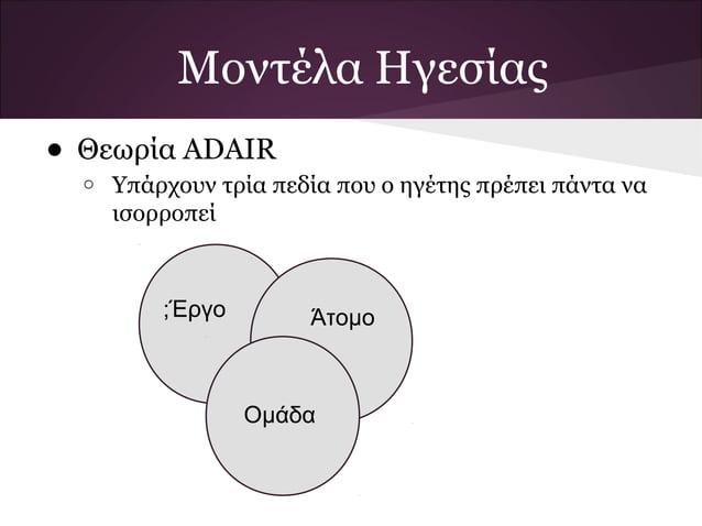 Μοντέλα Ηγεσίας• Θεωρία ADAIR  o   Υπάρχουν τρία πεδία που ο ηγέτης πρέπει πάντα να      ισορροπεί          ;Έργο        Ά...