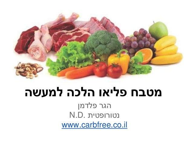 מטבח פליאו הלכה למעשה        הגר פלדמן      נטורופטית .N.D     www.carbfree.co.il