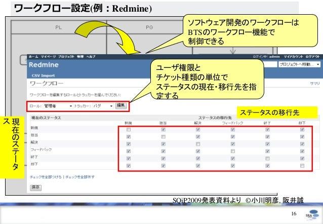 ワークフロー設定(例:Redmine)                           ソフトウェア開発のワークフローは                           BTSのワークフロー機能で                    ...