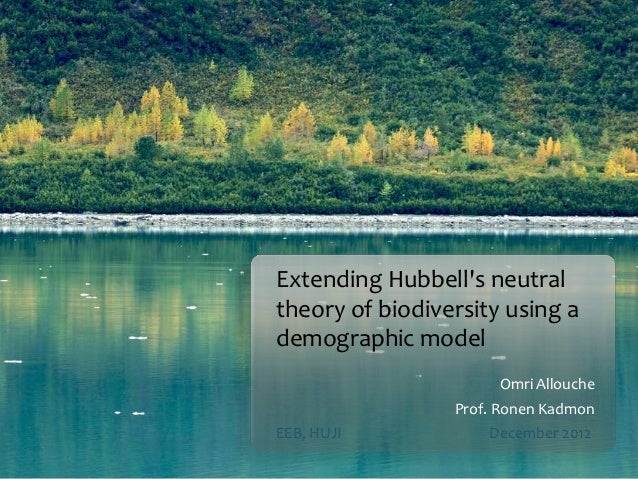 Extending Hubbells neutraltheory of biodiversity using ademographic model                      Omri Allouche              ...