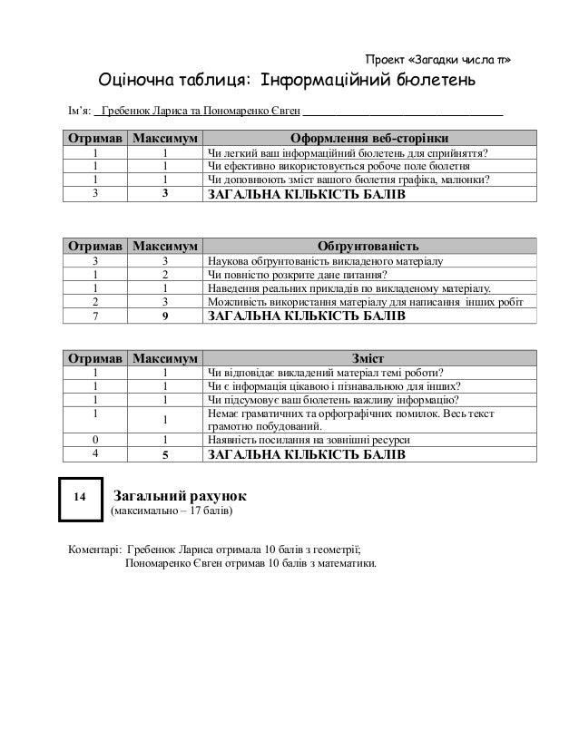 Проект «Загадки числа π»      Оціночна таблиця: Інформаційний бюлетеньІм'я: Гребенюк Лариса та Пономаренко ЄвгенОтримав Ма...