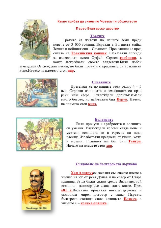Какво трябва да знаем по Човекът и обществото                                Първо Българско царство                      ...