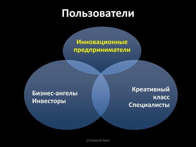 Ключевые пользователи: Инновационные          предприниматели• Конструктивны, не конфликтны• Цель – создавать, не власть• ...