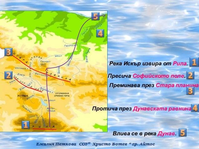 Река Искър извира от Рила.    Пресича Софийското поле.     Преминава през Стара планина.Протича през Дунавската равнина   ...
