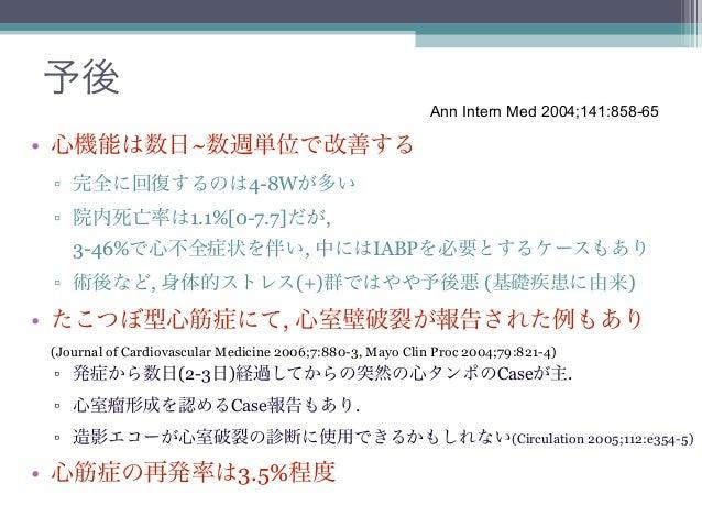 予後                                                            Ann Intern Med 2004;141:858-65• 心機能は数日~数週単位で改善する ▫ 完全に回復するのは...