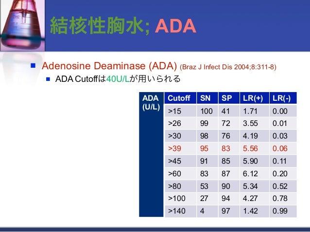 結核性胸水; ADA   Adenosine Deaminase (ADA) (Braz J Infect Dis 2004;8:311-8)       ADA Cutoffは40U/Lが用いられる                    ...