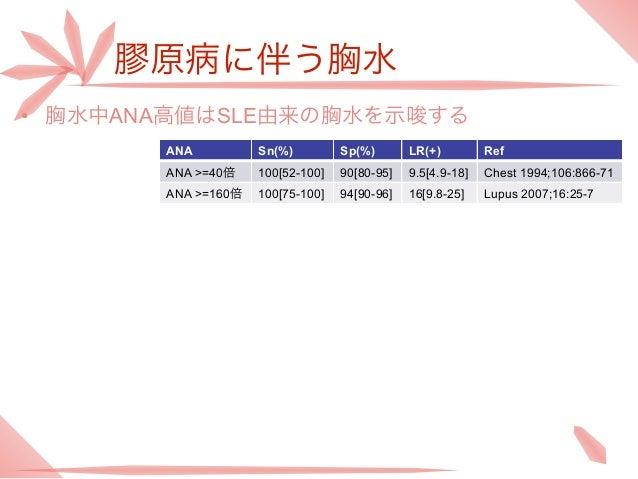 膠原病に伴う胸水• 胸水中ANA高値はSLE由来の胸水を示唆する       ANA          Sn(%)         Sp(%)       LR(+)         Ref       ANA >=40倍    100[52-...
